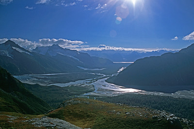 High on a ridge above the Tatshenshini River, Alaska