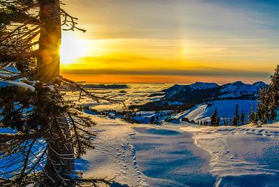 Winter sunset from Mt Rainier, Washington