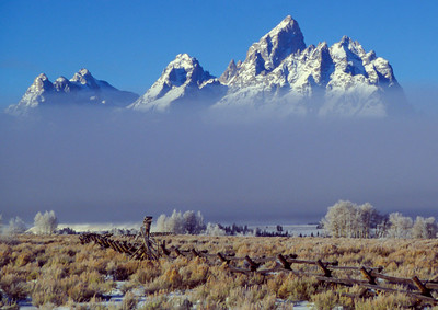 Tetons above the fog, Wyoming