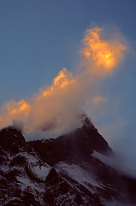 Sunlit spindrift, Patagonia, Chile