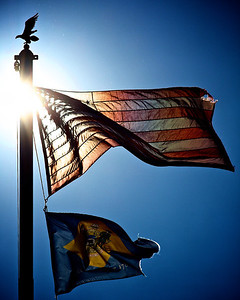 Flags over New Castle, DE.