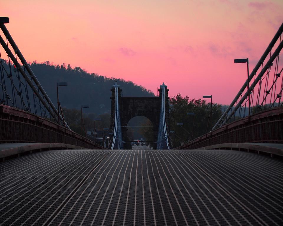 Wheeling suspension bridge in Wheeling, WV.