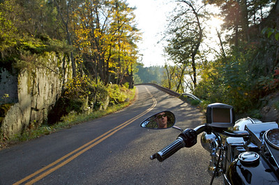 Mark Frederick and his Harley Road King fitted with a Zumo 550 test unit. Shot in St. Croix State Park on the Wisconsin side on October 6, 2007. 1/80th at f7.1.