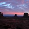 Sunrise in Monument Valley, West Mitten Butte, East Mitten Butte, Merrick Butte.