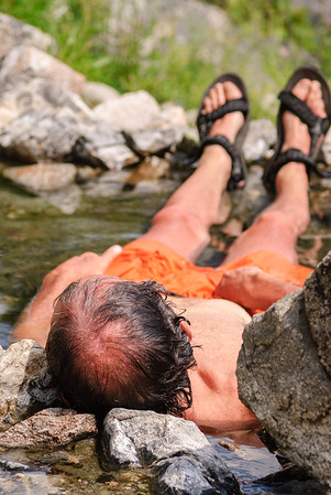 Hot spring soak, Middle Fork of the Salmon River, Idaho