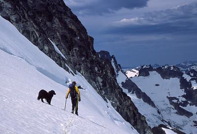 Best friends high on Mt Spickard, North Cascades, Washington