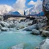 River crossing, Manaslu trek, Nepal