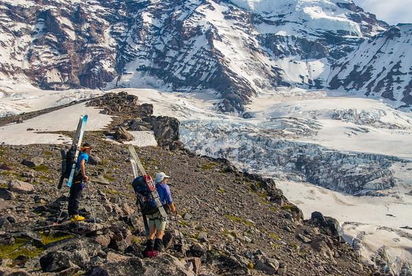 Circumnavigating Mount Rainier, Washington.