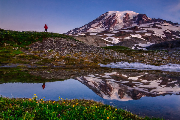 A lone hiker soaks in Mt Rainier at dawn, Washington