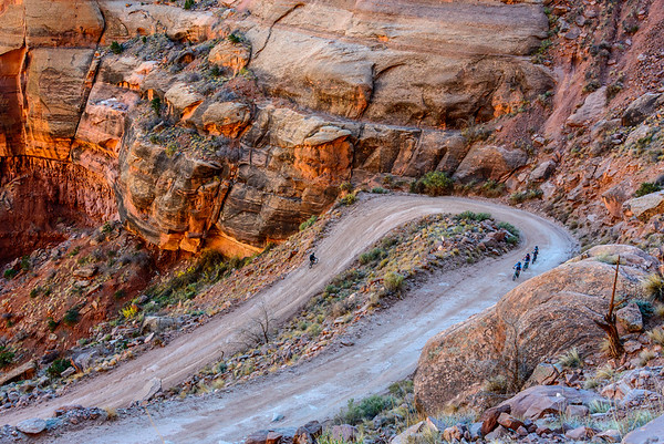 Grinding out the ascent from the Whie Rim, Canyonlands National Park, Utah