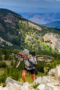 Hike a bike on Angels Staircase, Cascade Mountans, Washington