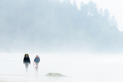 Hikers in the fog, Olympic Beach, Washington