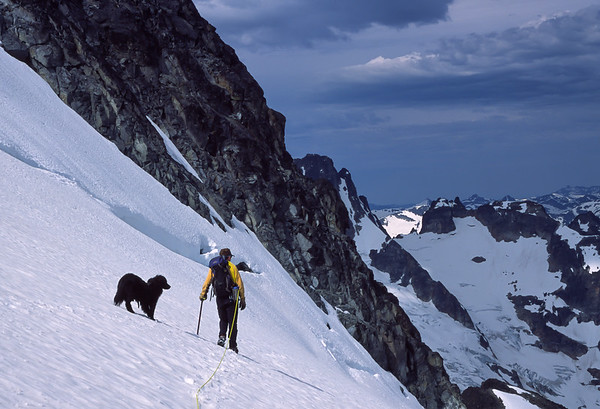 Best friends high on Mt Spickard, North Cascades, Washington