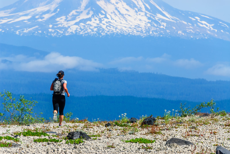Trail running on Mt St Helens, Washington