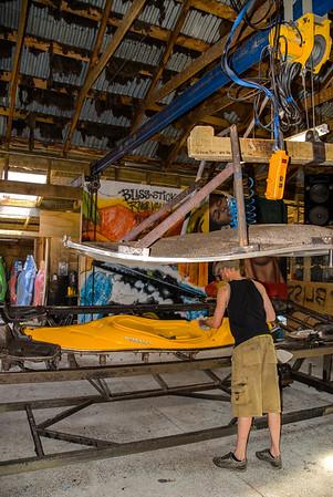 Kayak manufacturing at the Blissstick sheep barn, New Zealand