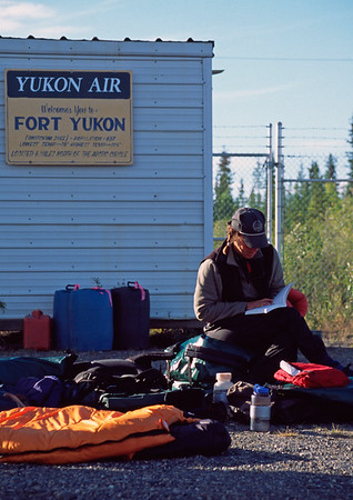 Waiting for the bush flight, Fort Yukon, Alaska