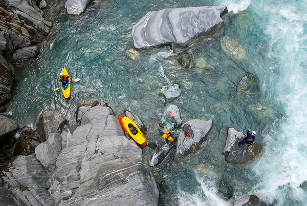 Rest break on the Whitcomb River, New Zealand