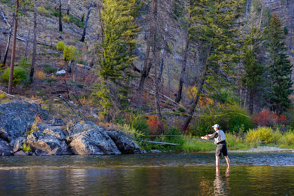 Fly cast, Middle Fork of the Salmon River, Idaho