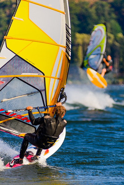 Wind surfers, Hood River, Oregon