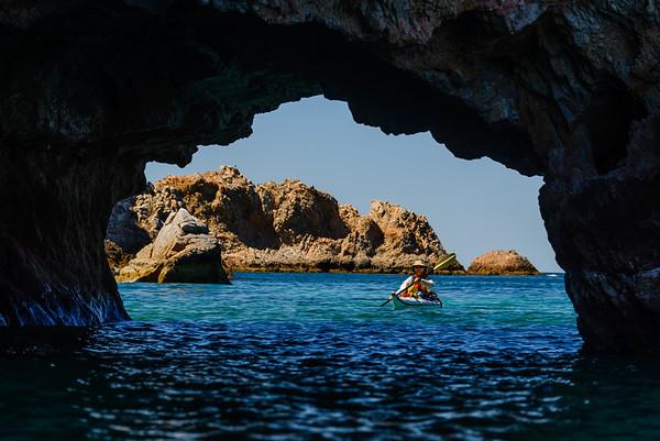 Exploring sea caves off the coast of Baja, Mexico