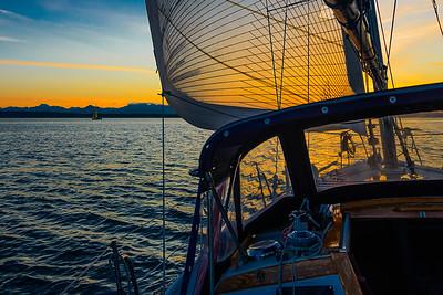 Evening sail on Puget Sound, Washington
