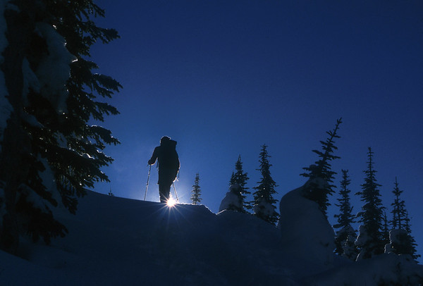 Dawn patrol in the Selkirk Range, British Columbia