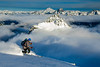 Skiing above the clouds, Cascades, Washington