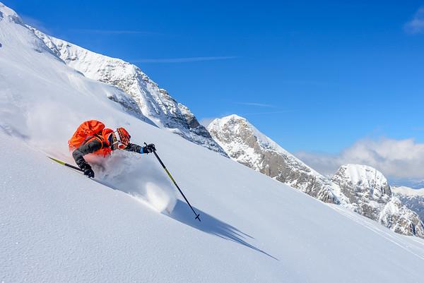 Powder day, Dolomites, Italy