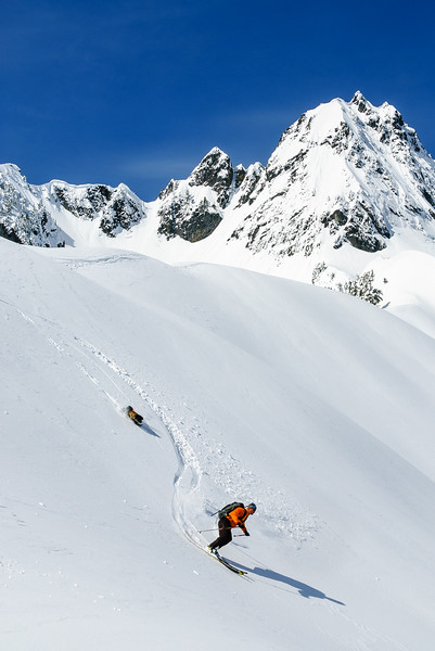 Zora trying to keep up, Snoqualmie Pass backcountry, Washington
