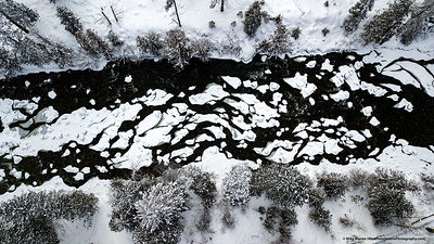 Overhead view of partially frozen Icicle Creek.