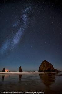 Milky Way over Haystack Rocks, Cannon Beach, OR