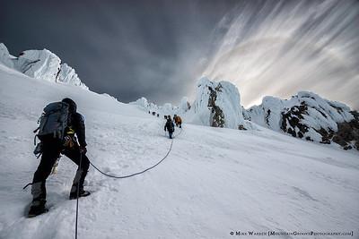Climbers and Sun Dog, Mt. Hood, OR