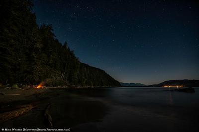 Campfire and stars, West Coast Trail, BC, CA
