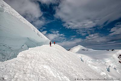 Passing the 'Schrund, 14,000' on Mt Rainier, MRNP