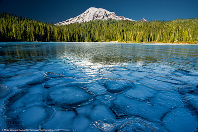 A frozen Reflection Lakes and Mt Rainier