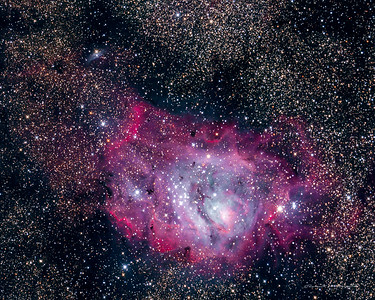 The Lagoon nebula appears along the view toward the center of our galaxy