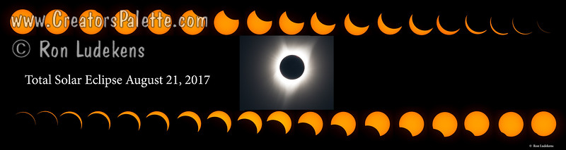 "Total Solar Eclipse - Sequence shot in Salem, Oregon.  (Panorama sized at 8""x32"" or that ratio. Looks great on Metallic Paper or Metal)"