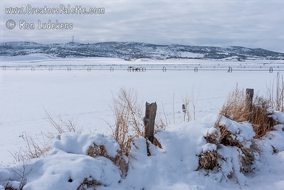 Snow covered farm lands in Klamath Basin