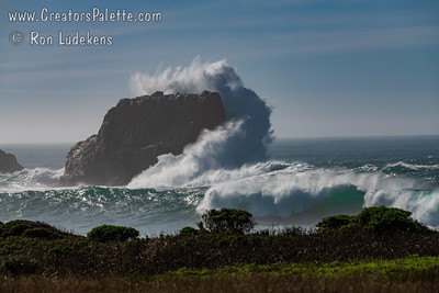 12-20 foot storm waves crashing along the coast near Elephant Seal viewing area - San Simeon, CA