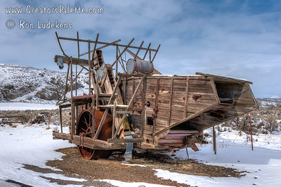 Antique Harris Harvester near Tulelake, CA - winter in Klamath Basin.