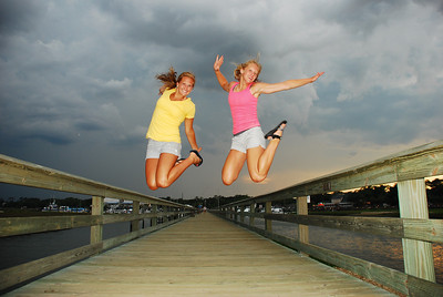 Morgan and Jamie on a pier in Murrell's Inlet, SC.