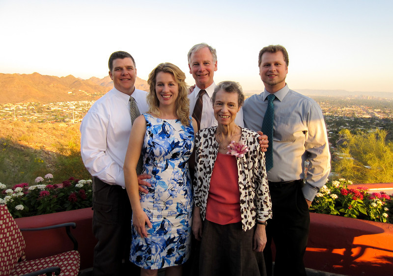 "Peter & Sara Tappen (Timothee's sister), Paul & Faith Howland  (Timothee's parents), and Timothee Howland, May 2012, ""A Different Point of View"" Restaurant, Phoenix, Arizona, USA."