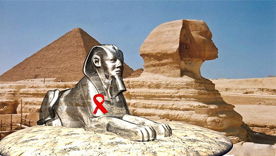 3D CGI of Sphinx over actual photo Silver finish 3D Studio Max