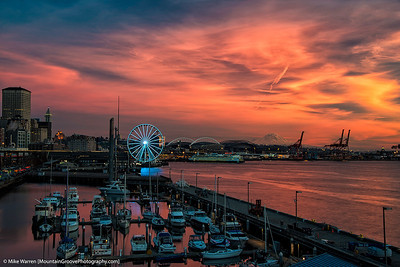 A vibrant sunset on the Seattle waterfront