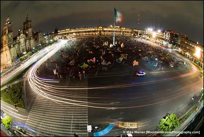 Time exposure, Zocalo, Mexico City