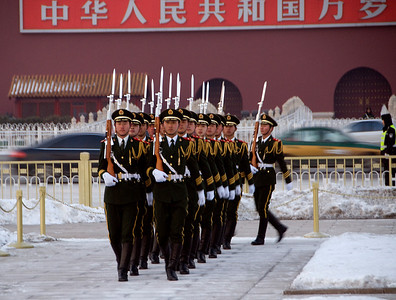 Lowering of the Flag ceremony, Tiananmen Square, Beijing, China