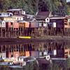 Houses on the coast of Isla Chiloe, Chile