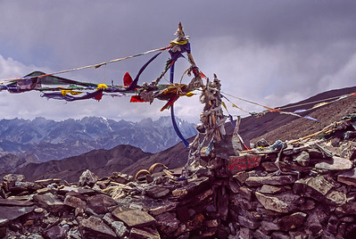 Tibetan prayer flags at Stok-La (Pass) in Ladakh, India
