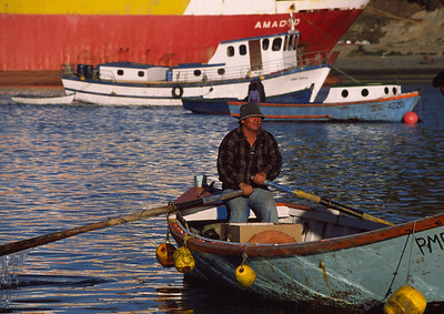 A Chilean fisherman returns to the harbor in Puerto Montt, Chile