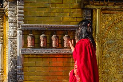 Spinning the prayer wheels, Kathmandu, Nepal